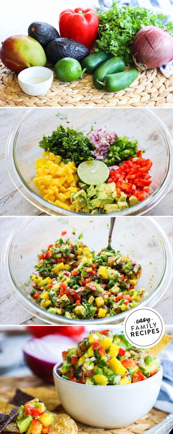 Process photos for How to Make Fresh Mango Avocado Salsa