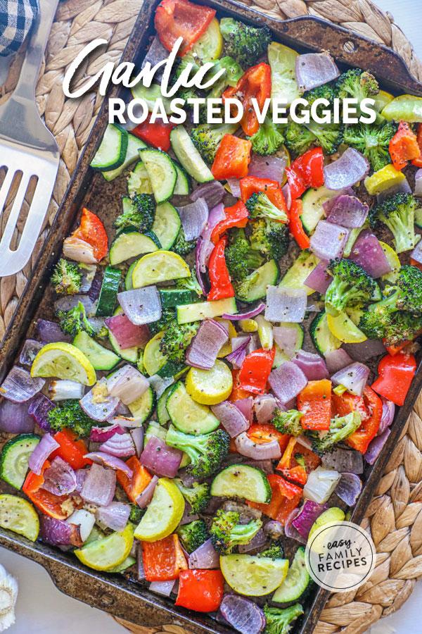 Garlic Vegetables Roasted on a sheet pan