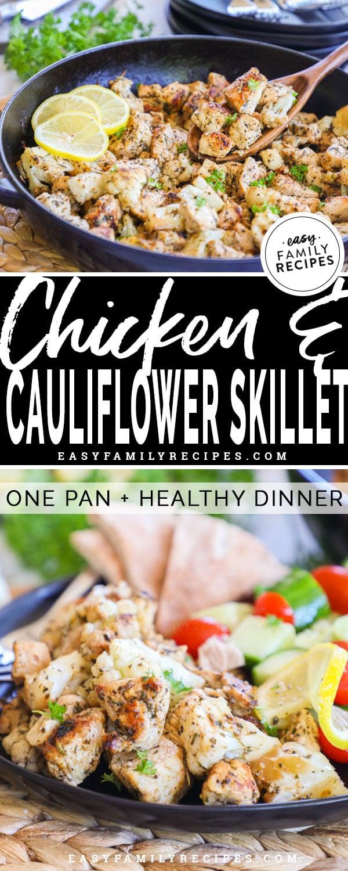 Healthy Greek Chicken and Cauliflower prepared in a Skillet
