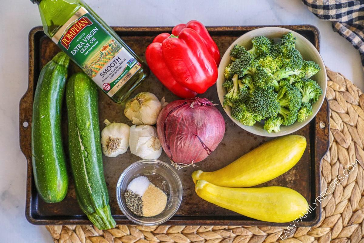 Ingredients for Garlic Roasted Vegetables
