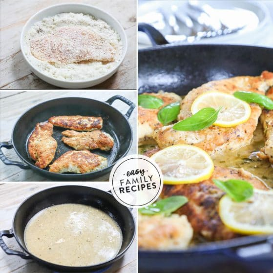 Steps for making lemon basil chicken in a skillet