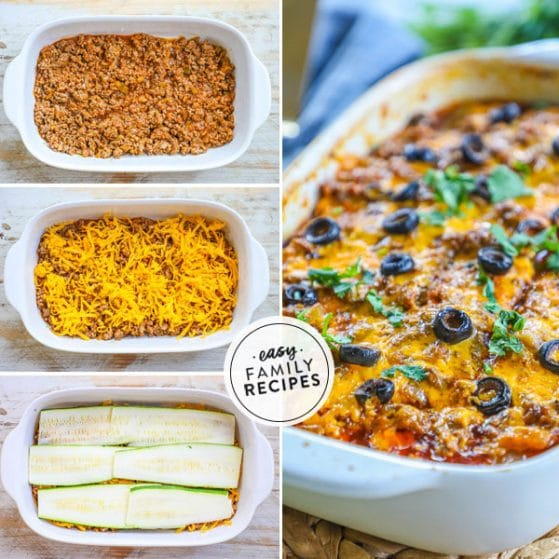 steps for making beef enchilada casserole with zucchini