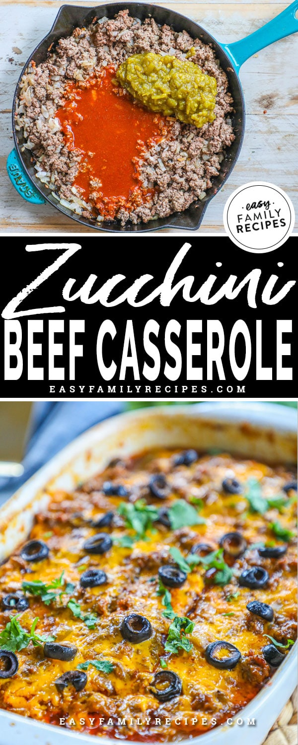 Beef enchilada casserole with zucchini being made in a skillet