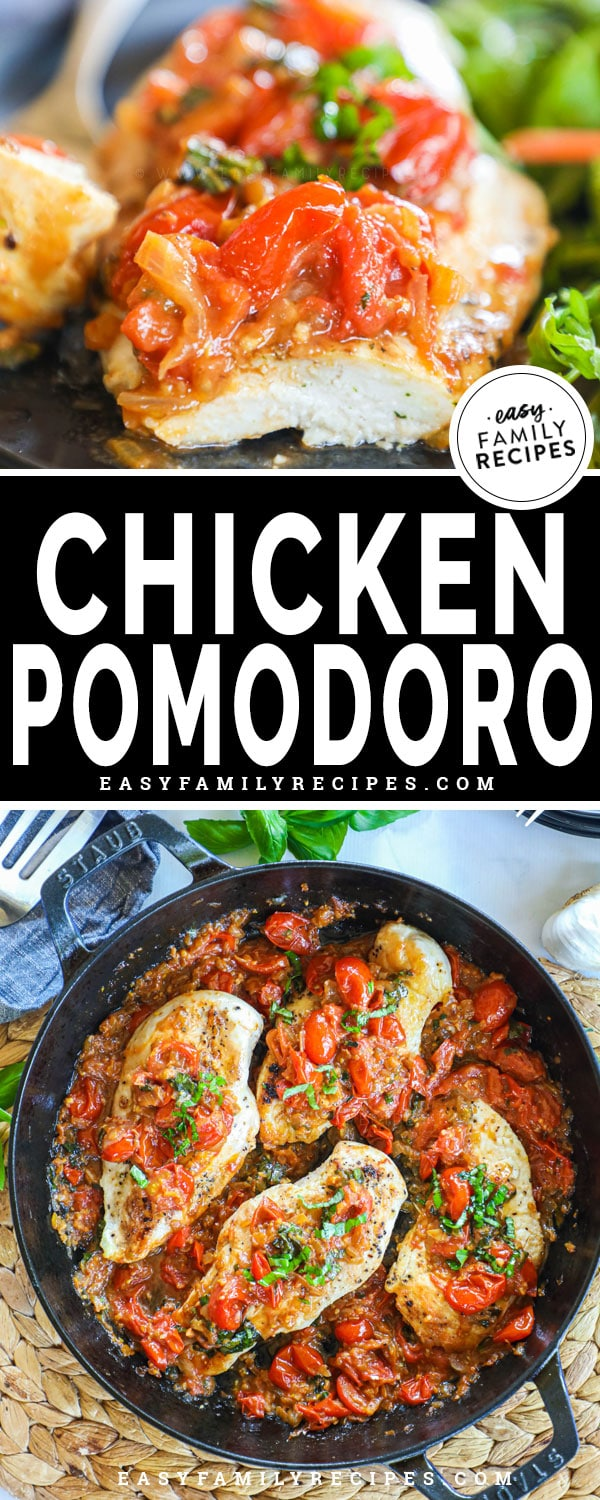 Chicken breast with pomodoro sauce cut and on a fork