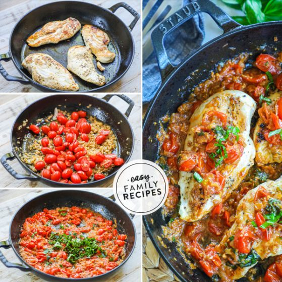 step by step for making chicken pomodoro