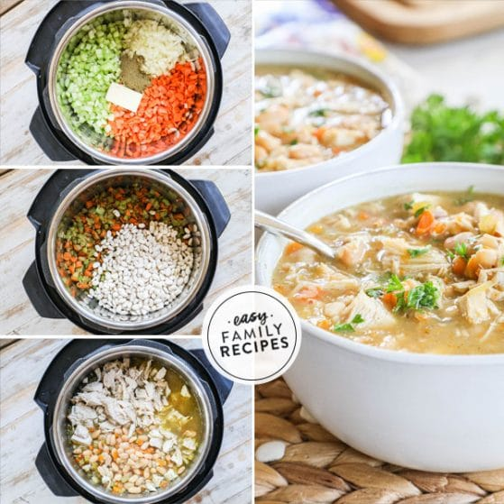 Warm Turkey Bean Soup made in the Instant Pot and served in a bowl piping hot.
