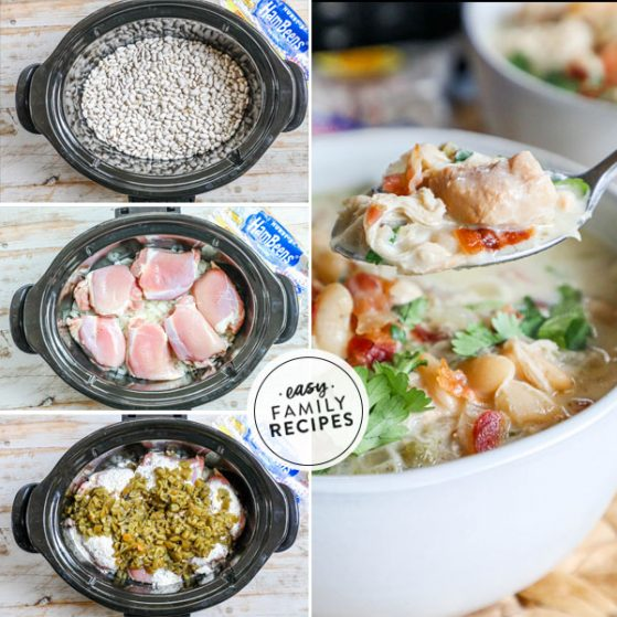 Step by Step for making white chicken chili with Bacon and ranch