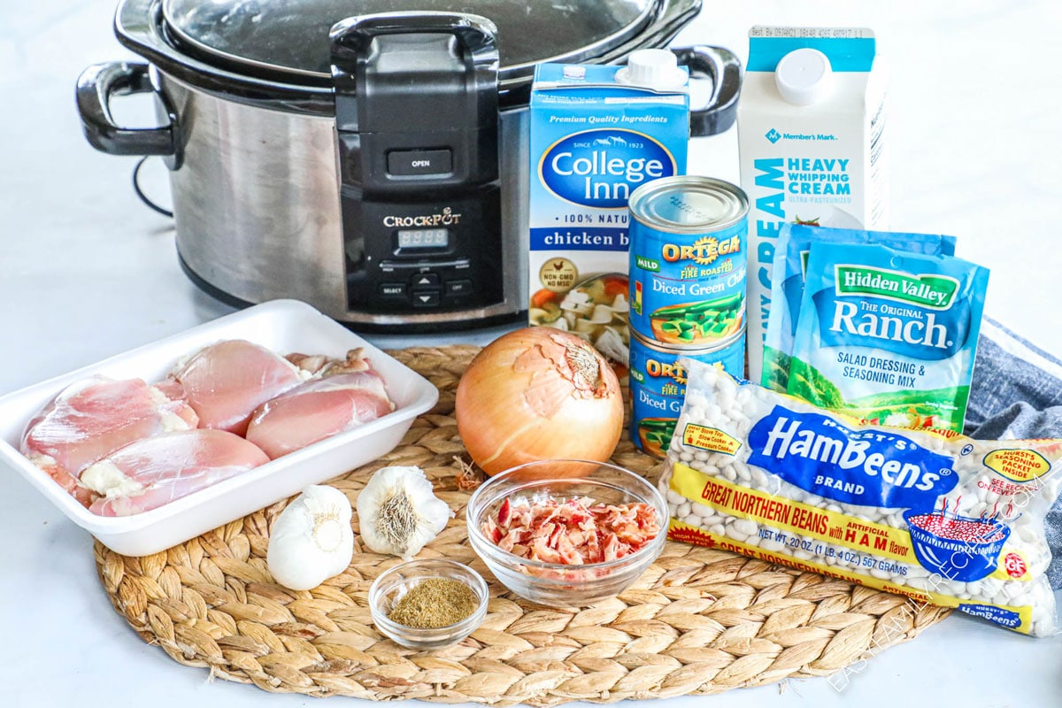 Ingredients to make Bacon Ranch White Chicken Chili