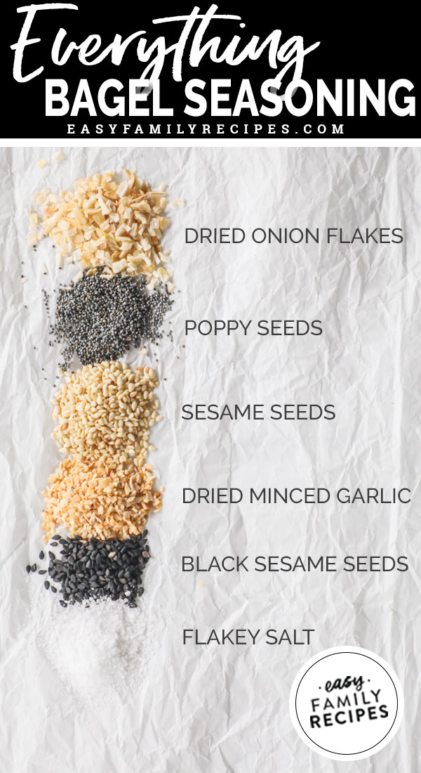 Ingredients in everything bagel seasoning including onion flakes, poppy seeds, sesame seeds, dried minced garlic, black sesame seeds and flakey salt
