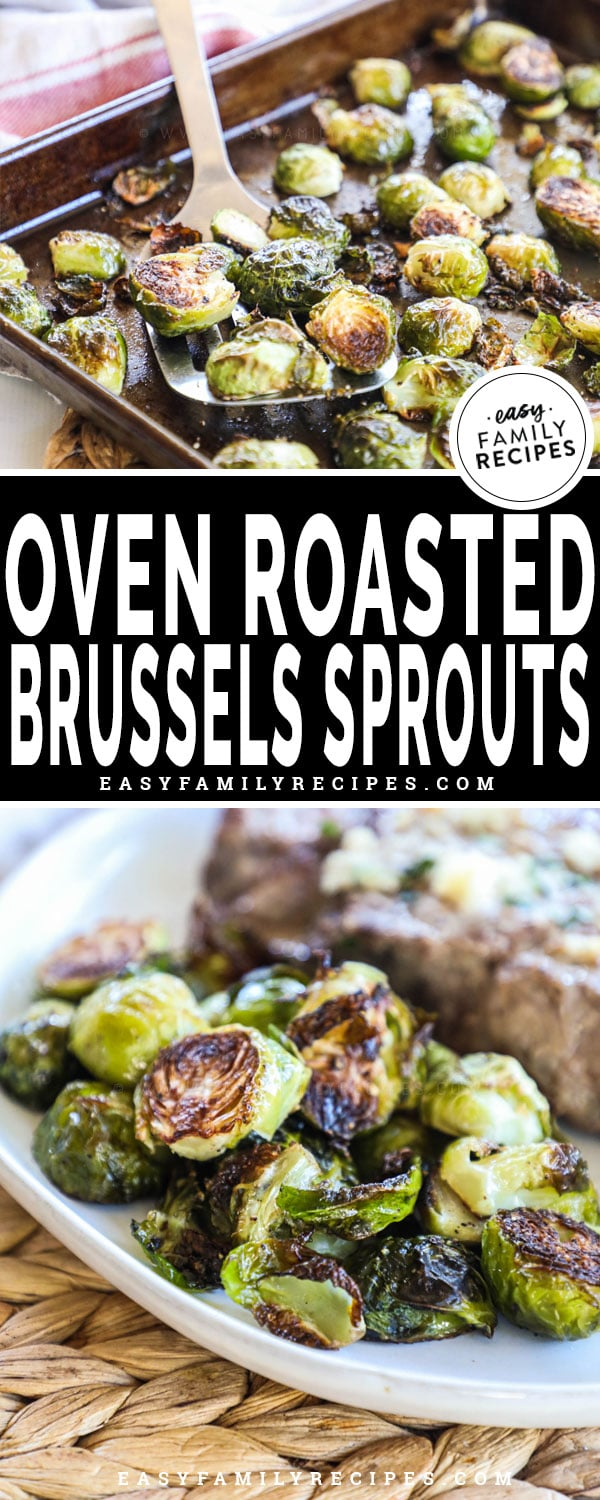 Roasted Brussels Sprouts served with a steak