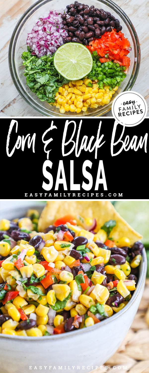 Top image bowl with ingredients for black bean salsa separated and ready to mix. Bottom: Corn Salsa mixed and ready to serve in a bowl