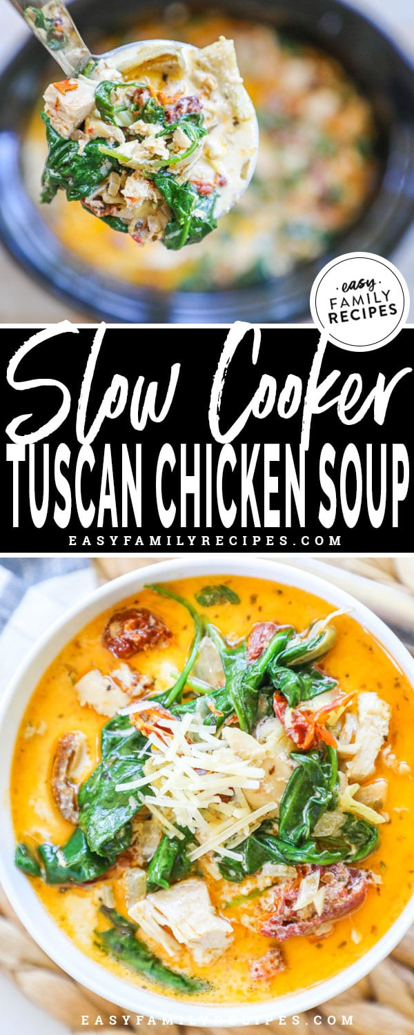 Tuscan Chicken Soup in the Slow Cooker