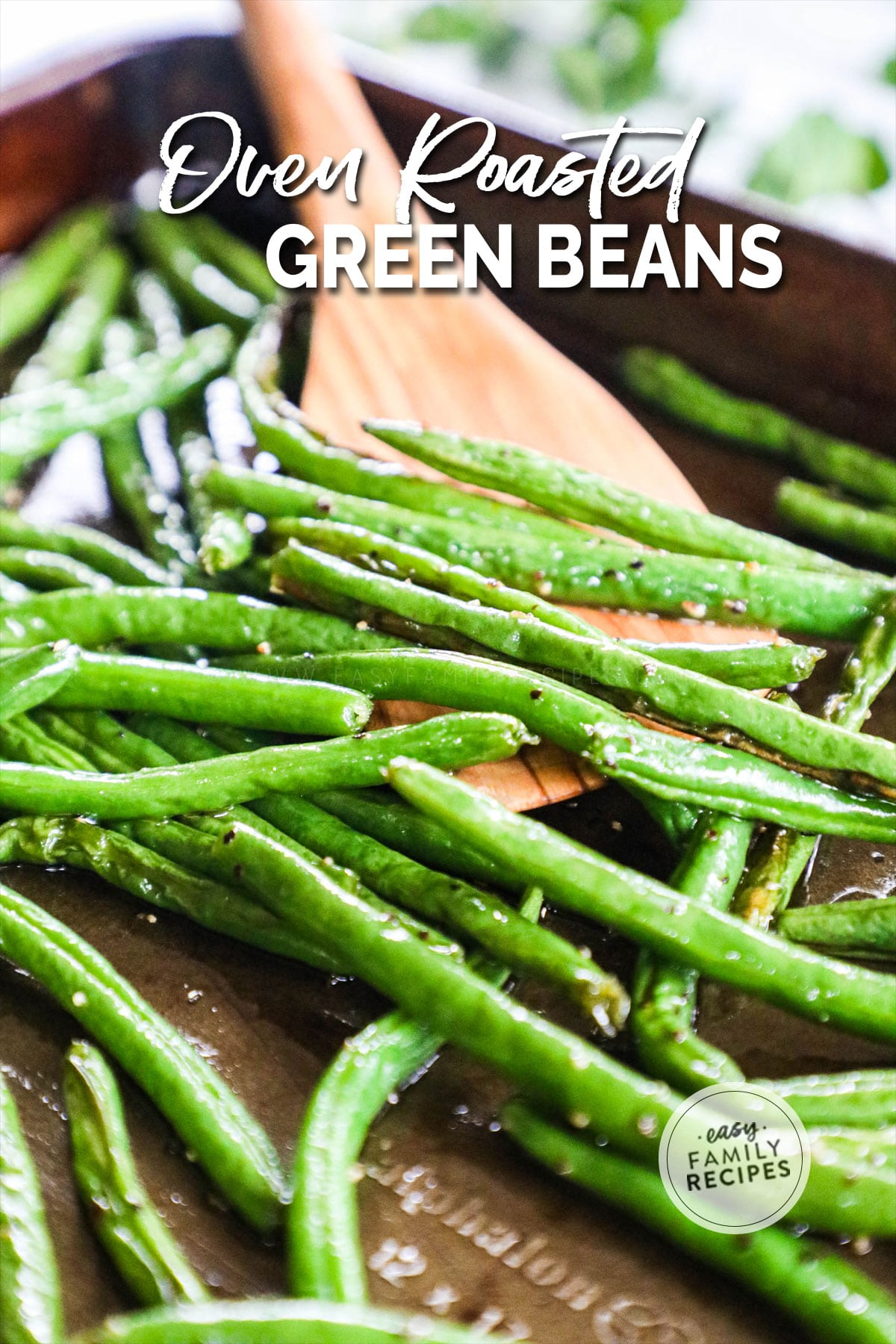 Roasted Green Beans on a baking sheet