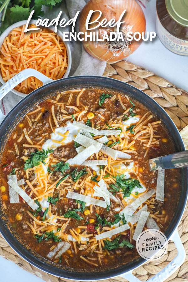 Beef Enchilada Soup in a pot garnished with sour cream, tortillas, cheese and cilantro