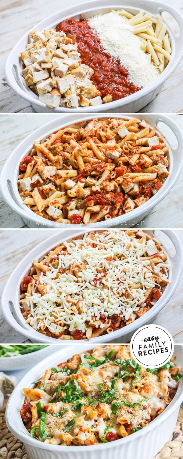 Process photos for how to make chicken parmesan casserole. 1. Place noodles, sauce, cheese, and chicken in casserole dish. 2. Mix. 3 Top with cheese, bake and add bread crumbs . 4. Baked Casserole garnished with basil