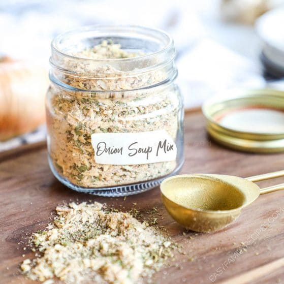 Homemade Onion Soup Mix being stored in a mason jar