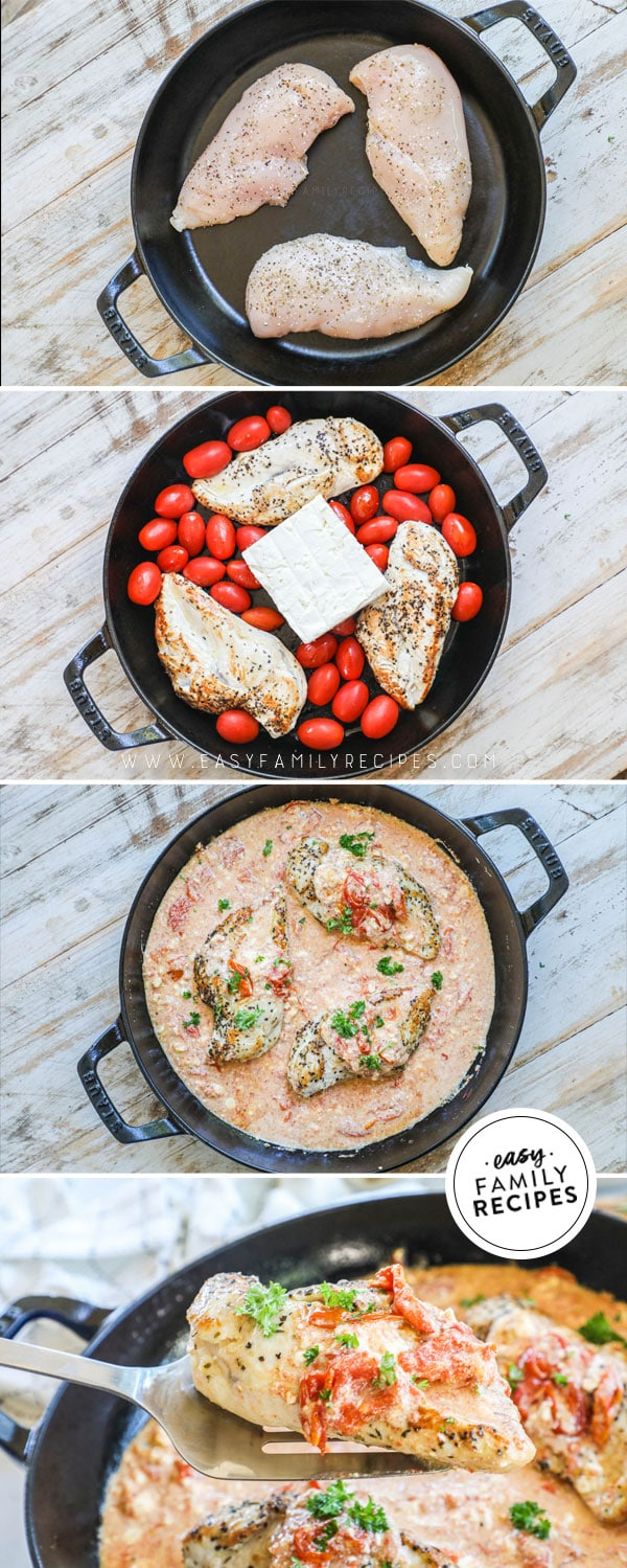 Process photos for how to make Baked Feta Chicken: 1. Brown chicken breast in a skillet 2 Add tomatoes garlic and feta cheese, 3. Bake and mix together