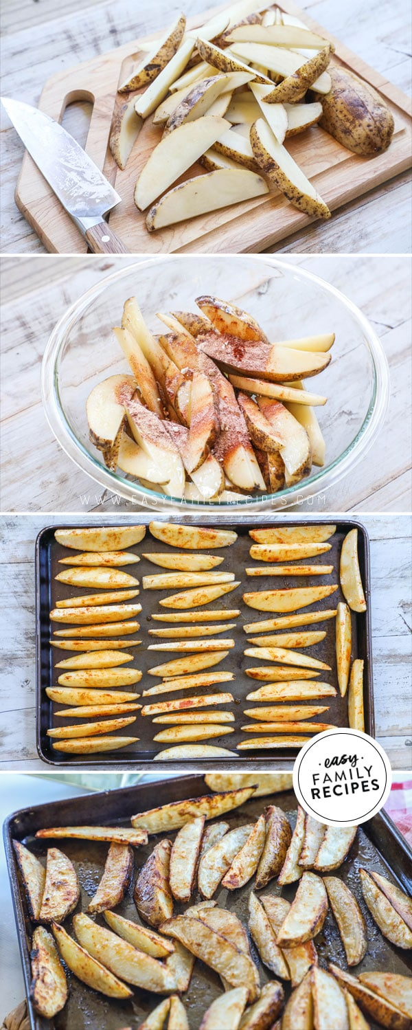 Process photos for how to make crispy potato wedges in the oven 1. Cut potatoes into wedges 2. season and toss with oil 3. Arrange potato wedges on baking sheet. 4. Bake until crispy and golden