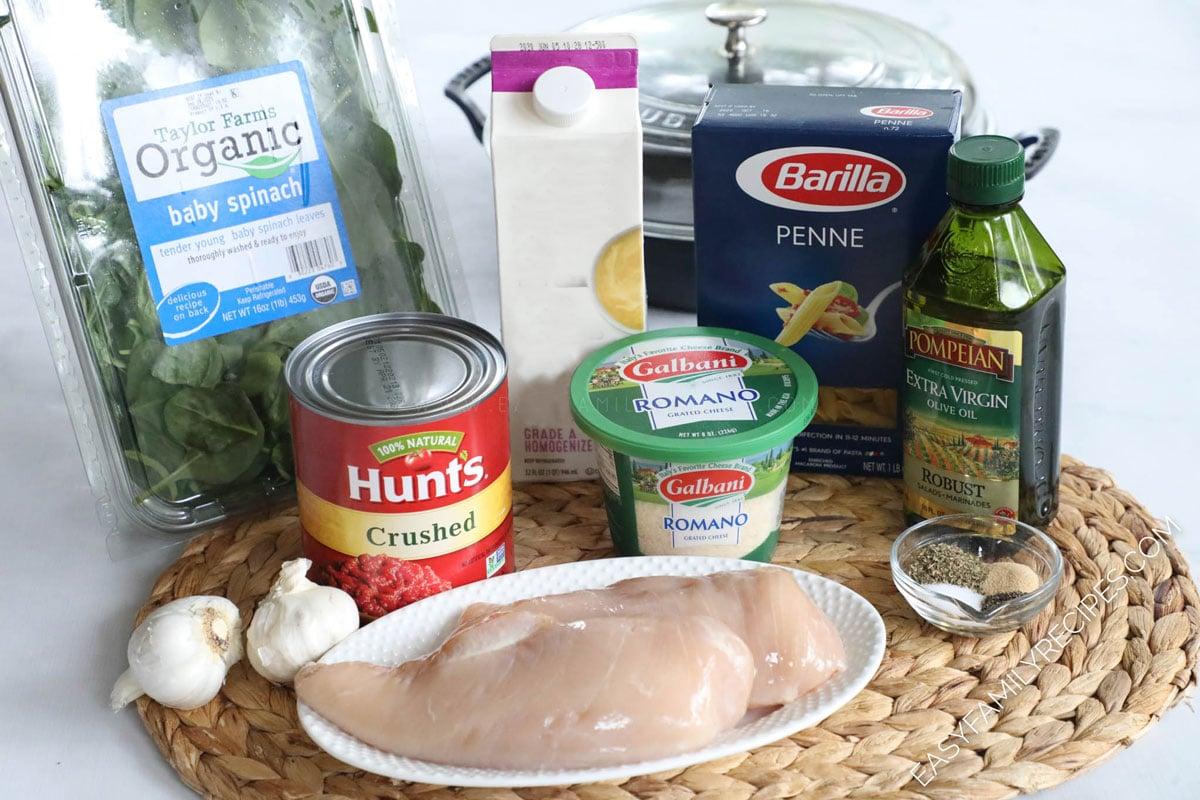 Ingredients for making Italian Chicken pasta