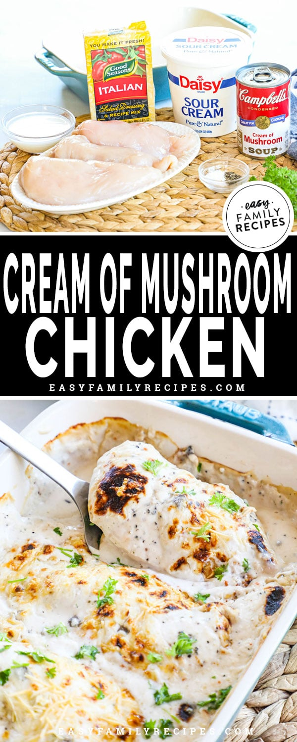 Cream of Mushroom Chicken in a casserole dish ready to be served for an easy dinner