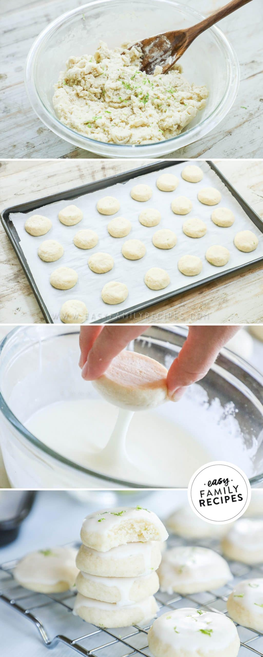 Process photos for how to make key lime cookies: 1. Mix the dough 2. Roll into balls, place on baking sheet, bake 3. Dip in glaze.