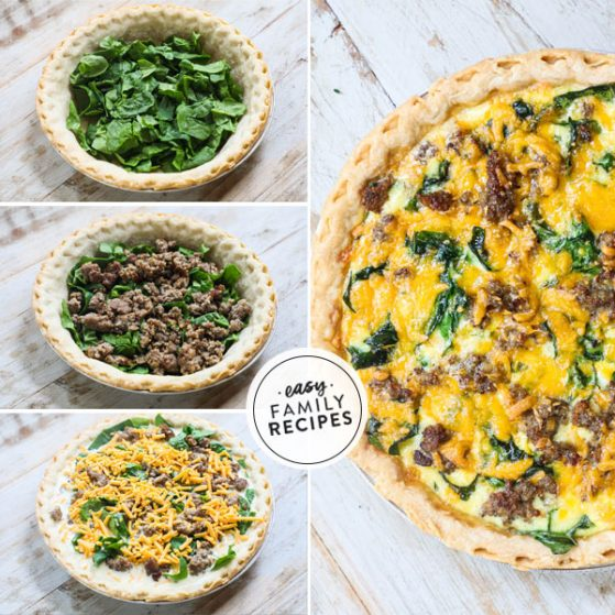 Step by step for making Sausage and spinach Quiche with cheese and fresh spinach
