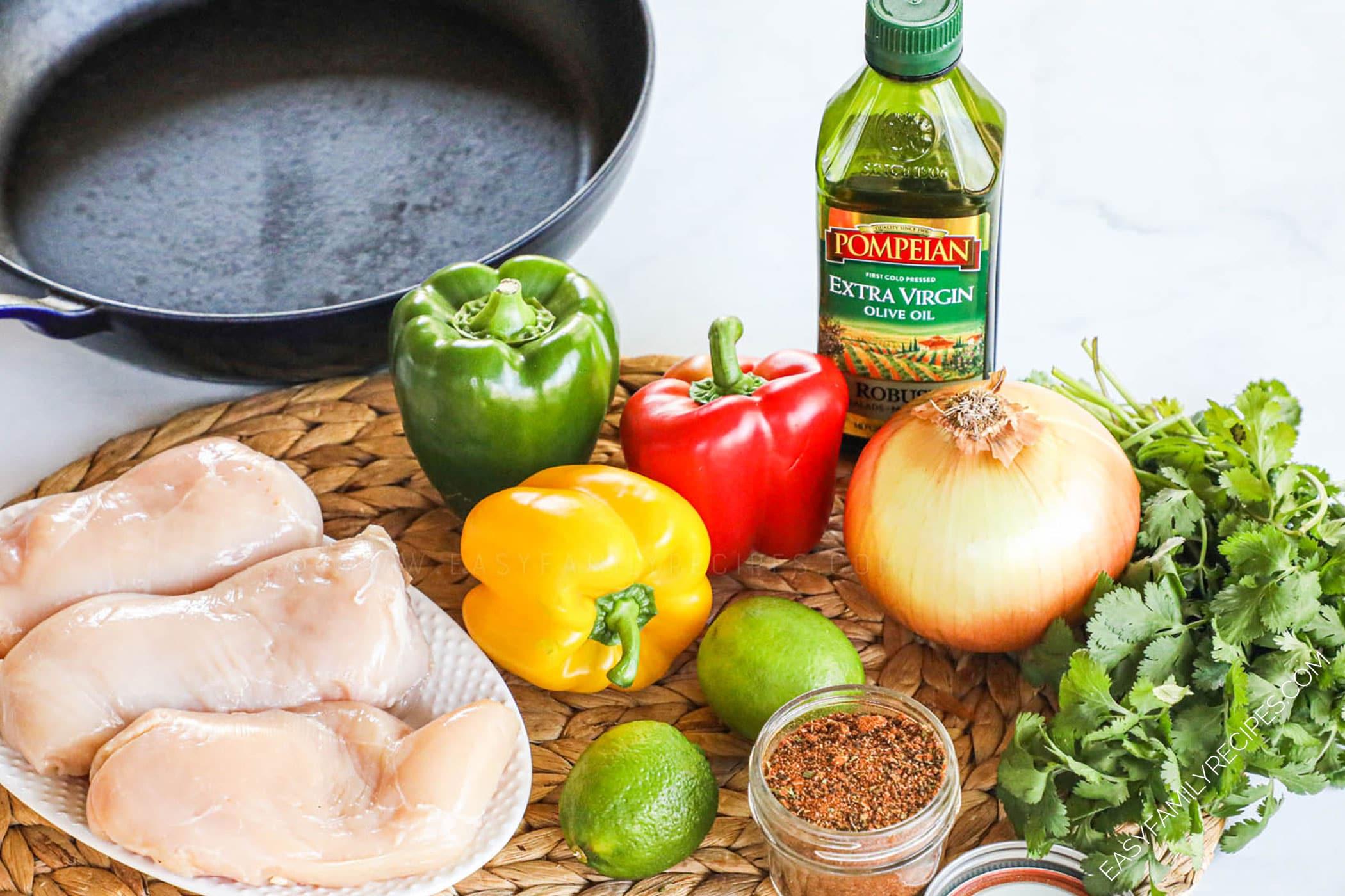 Ingredients for making chicken fajitas