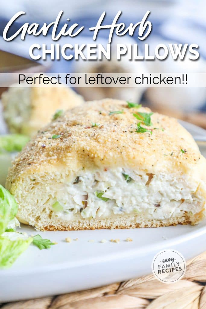 Garlic Herb Chicken Pillow baked to golden and stuffed with creamy chicken, cream cheese, garlic and herb mixture