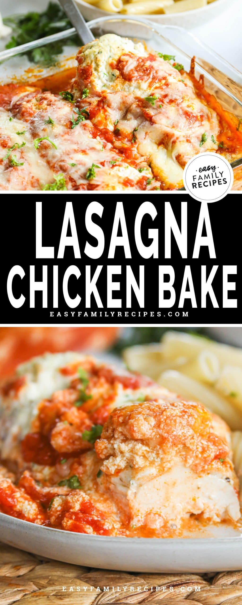 Lasagna Chicken breast served with pasta cut into to show how tender and juicy it is