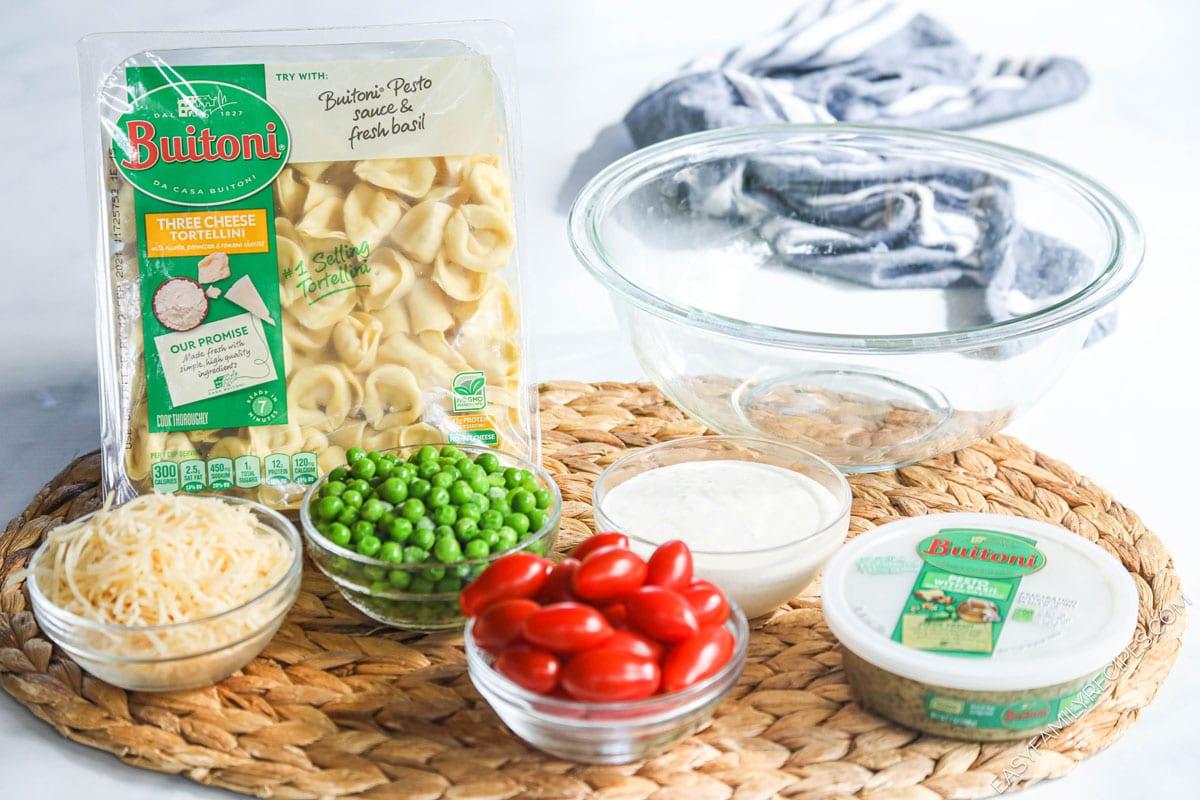 Ingredients for making Pesto Tortellini Pasta Salad