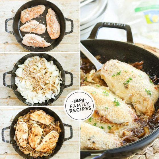 Step by step for making French Onion Chicken Breast Recipe - 1. Season Chicken Breasts and brown in skillet. 2. Slice onions and caramelize. Add chicken back and top with cheese. 4. Top with bread crumbs and bake.