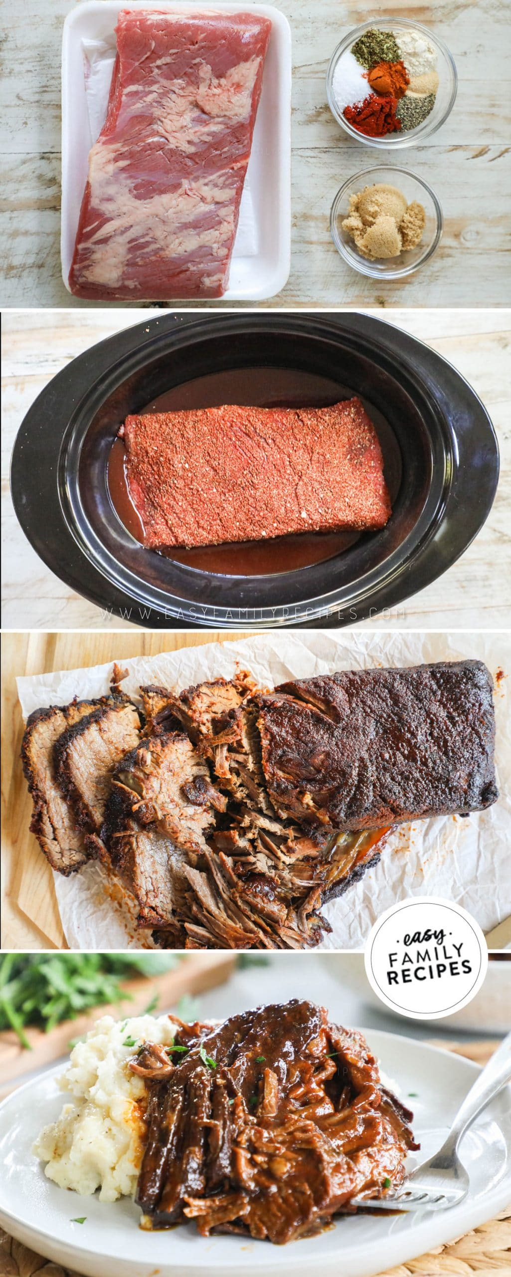 Process photos for how to make Brisket in Crock pot- 1. Prepare Brisket rub. 2. Add brisket to crockpot with BBQ sauce and broth 3. Cook and shred meat. 4. Combine meat with BBQ sauce and serve.