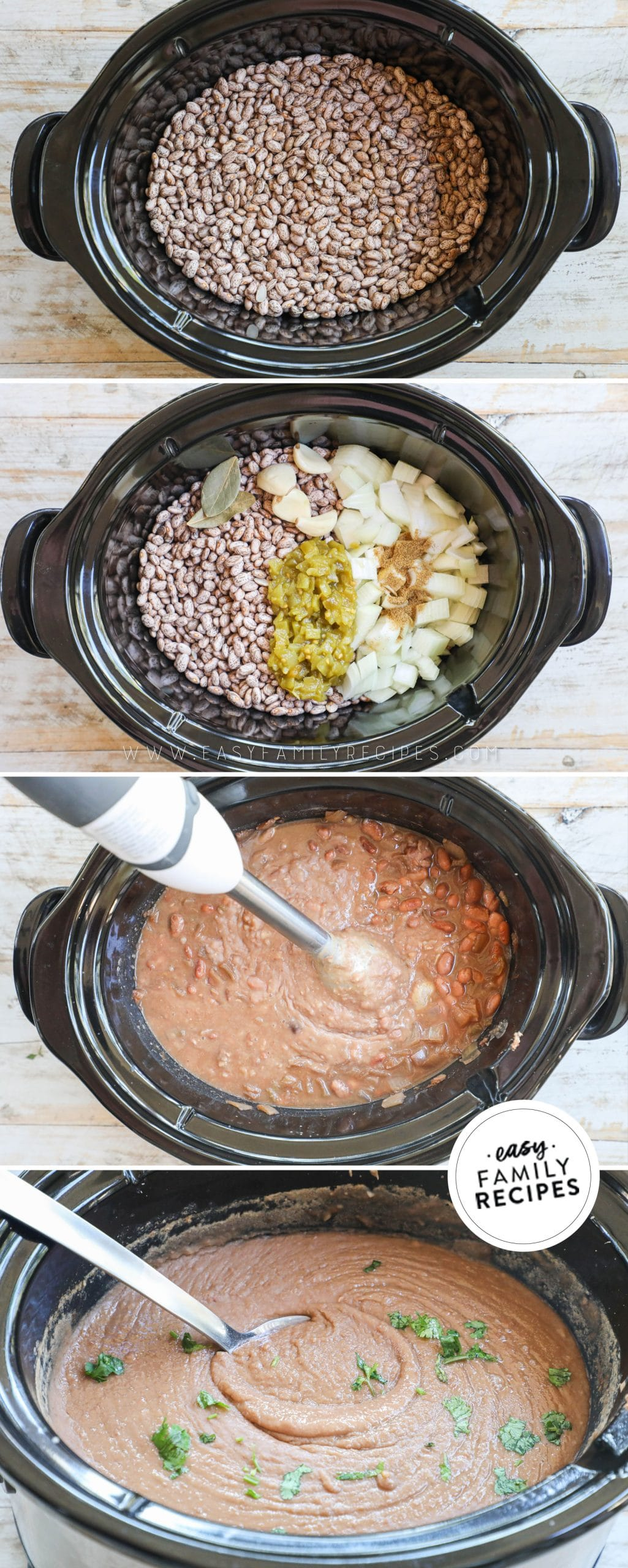 Process photos for How to make refried beans in a crockpot 1. combine pinto benas, onion, chiles, spices and broth in crock pot. 2. cook on low. 3. use immersion blender to puree beans. 4. serve with your favorite dinner