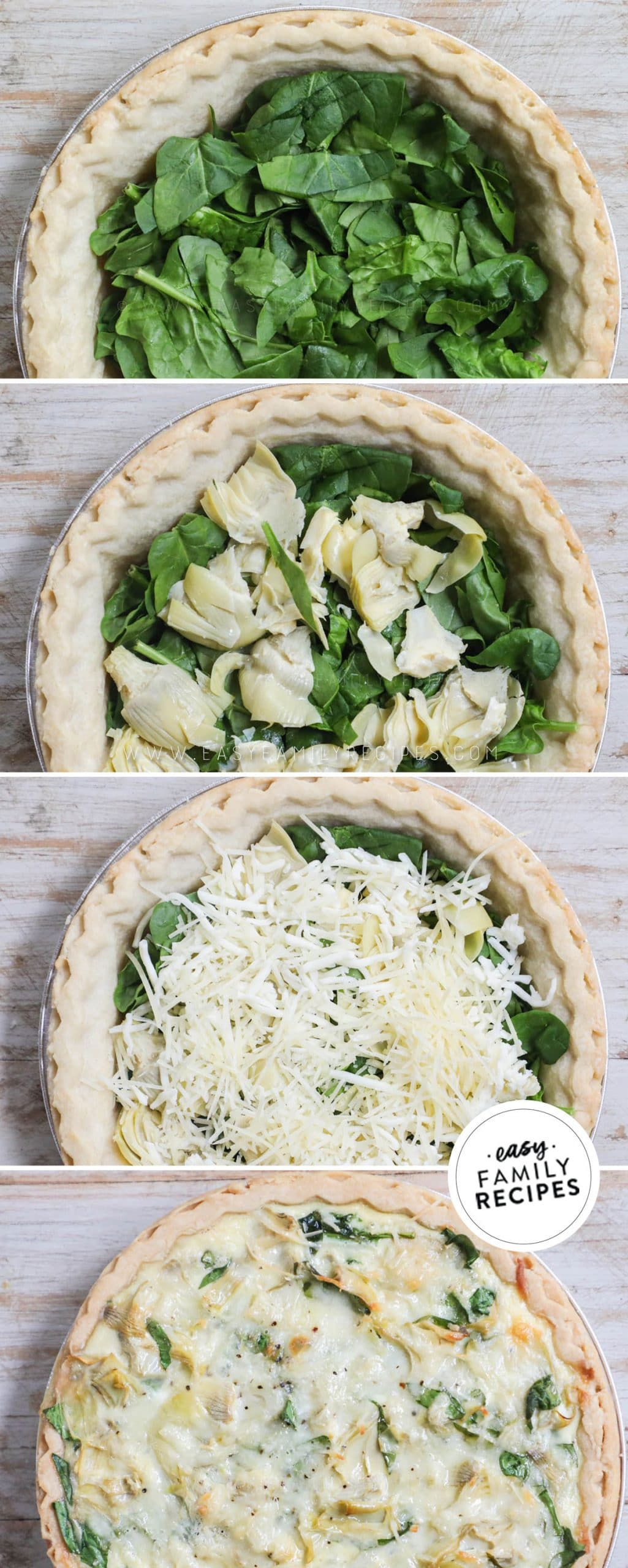 Process photos for How to Make Spinach Artichoke Quiche 1. Par-bake pie crust and add fresh spinach. 2. add artichokes and cheese. 3. Pour egg mixture over top. 4. Bake until the middle is just set.