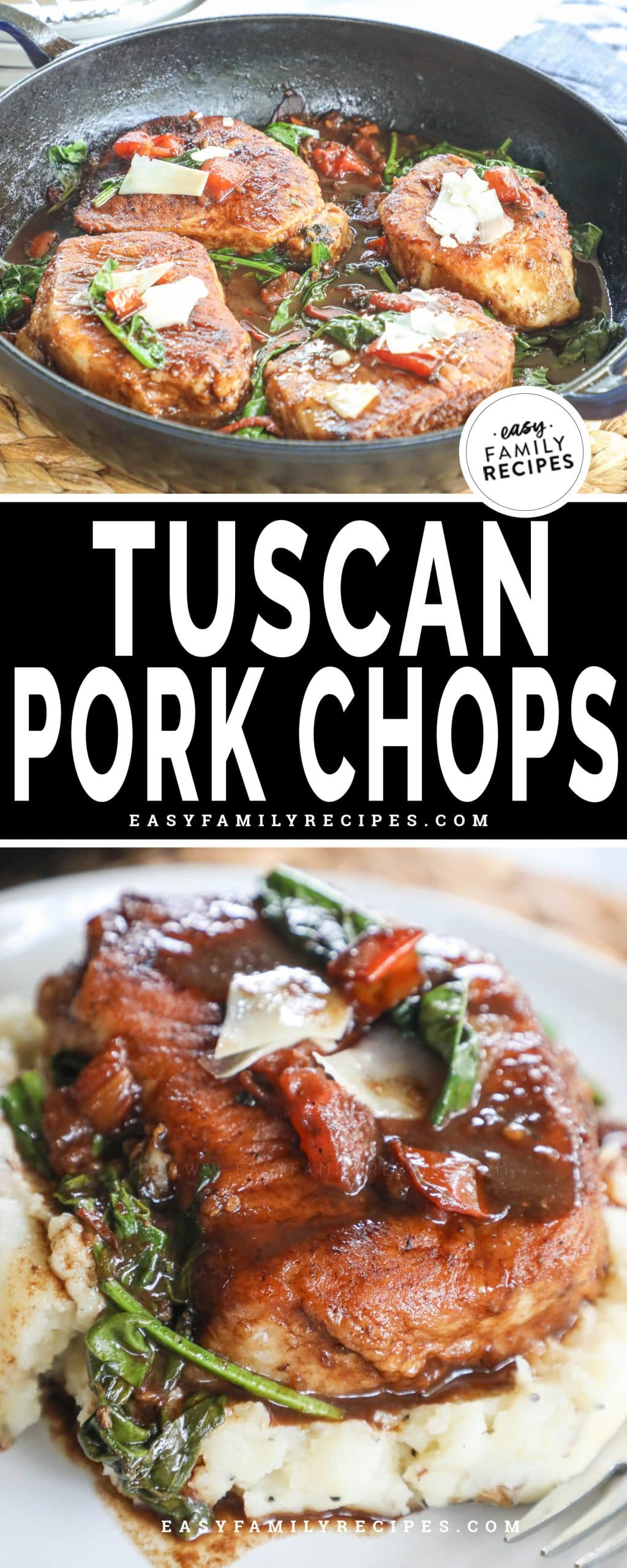Tuscan Pork Chops cooked in a skillet with balsamic tomatoes and spinach