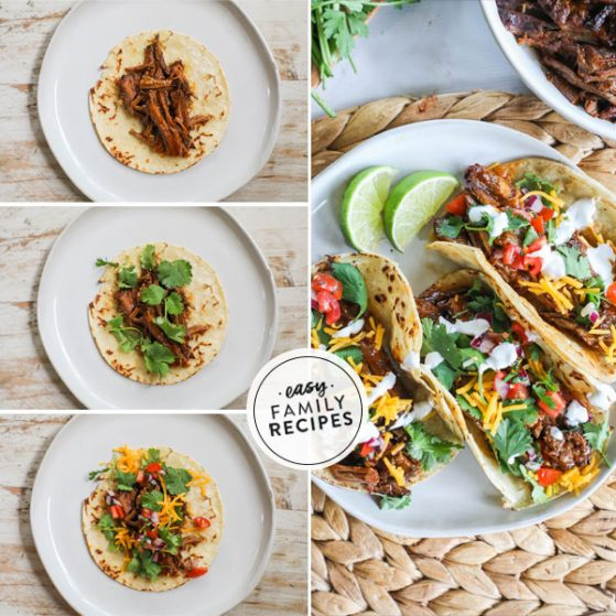 Step by step for making leftover brisket tacos 1. Toast tortillas in oil and add Brisket. 2. Top taco with cilantro. 3. Finish with pico de gallo, cheese, and sour cream. 4. Fold brisket tacos and serve with lime wedges.