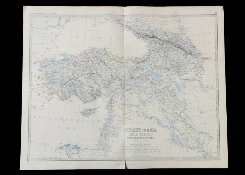 Unframed 19th Century Map of Asia Minor   EBTH Unframed 19th Century Map of Asia Minor