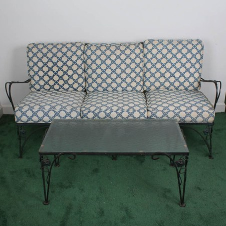Wrought Iron Outdoor Sofa and Coffee Table with Rose Motif   EBTH Wrought Iron Outdoor Sofa and Coffee Table with Rose Motif