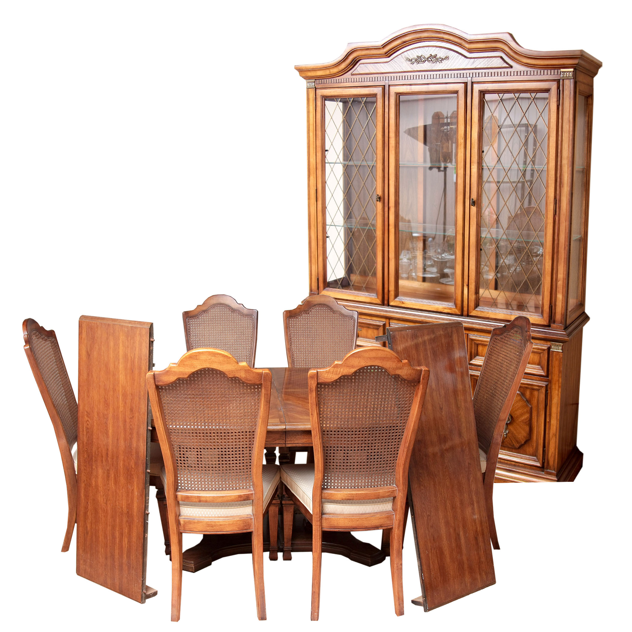 Stanley Furniture China Cabinet With Complementary Dining Table and     Stanley Furniture China Cabinet With Complementary Dining Table and Cane  Back Chairs