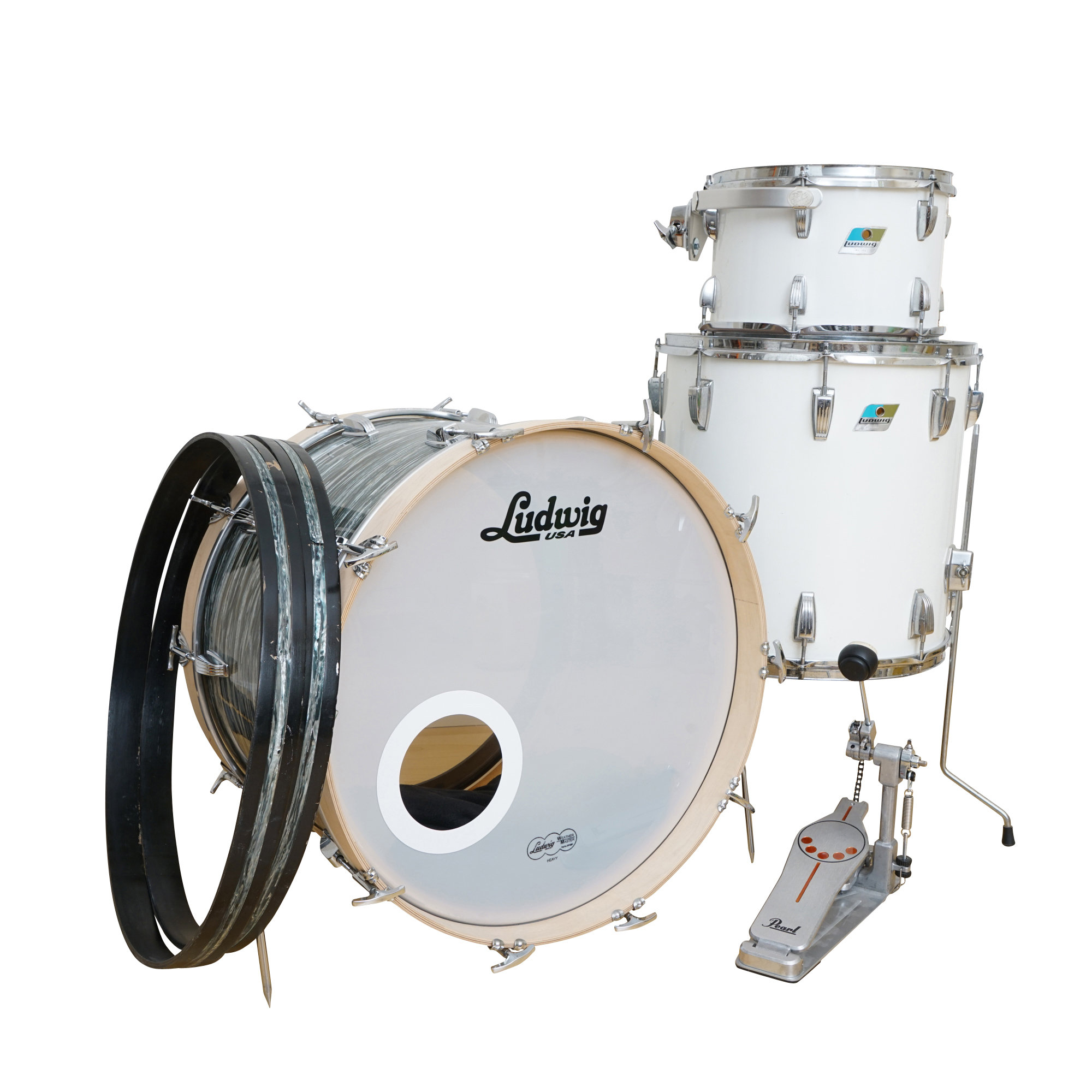 Partial Ludwig Drum Set with Pearl Drum Pedal   EBTH Partial Ludwig Drum Set with Pearl Drum Pedal