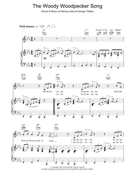Download The Woody Woodpecker Song Sheet Music By Mel ...