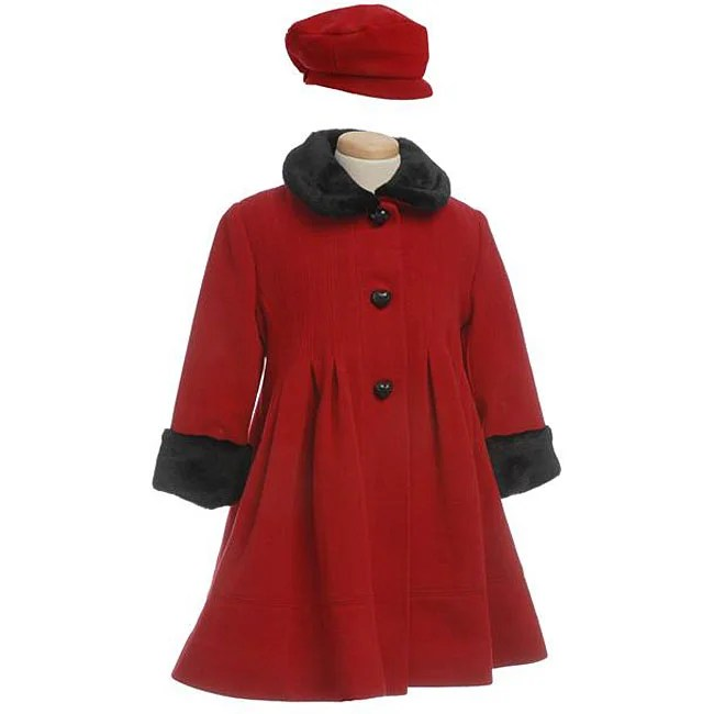 Rothschild Girl's Wool Pleated Coat with Faux Fur Trim ...