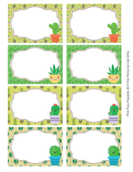 Cactus Bin Labels Classroom Decor By Pink Posy Paperie Tpt