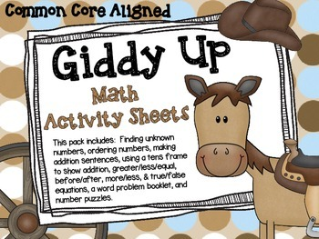 Cowboy Themed Math Worksheets for Extra Practice by Monahan Monkey     Cowboy Themed Math Worksheets for Extra Practice
