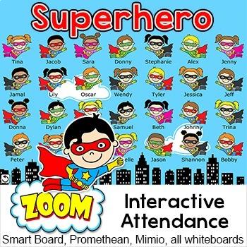 Superhero Attendance For Smartboards Promethean Or Mimo
