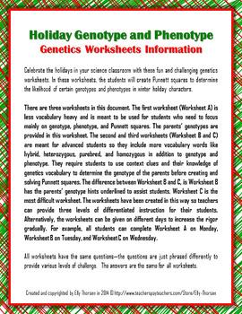 Winter Holiday Genotype and Phenotype Punnett Square ...