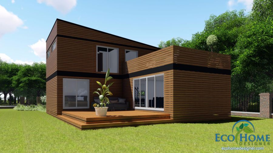 SCH17 10 x 20ft 2 Story Container Home Plans   Eco Home Designer SCH17 10 x 20ft 2 Story Container Home Plans