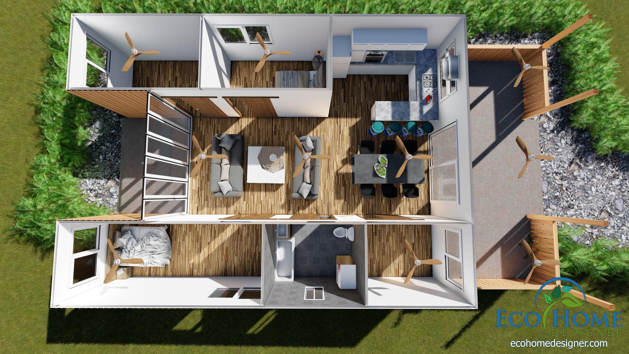 Best Kitchen Gallery: Sch18 2 X 40ft Container Home Plans Eco Home Designer of Container Home Plans  on rachelxblog.com