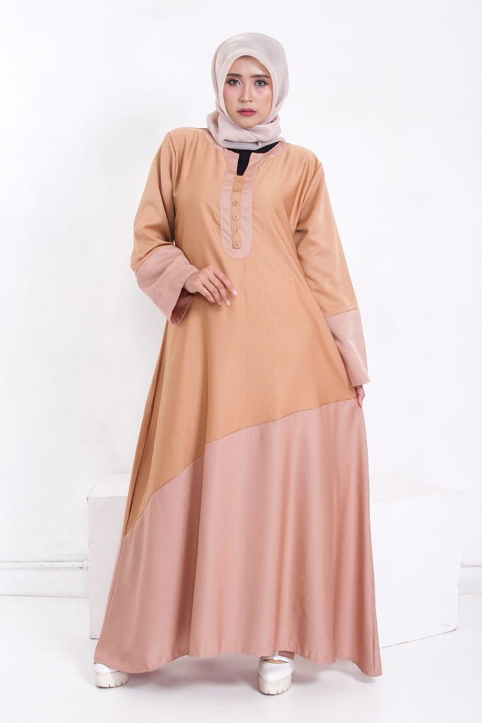 Dress Jv  Cream Tua Gamis Muslim Dress Ibu Hamil Menyusui
