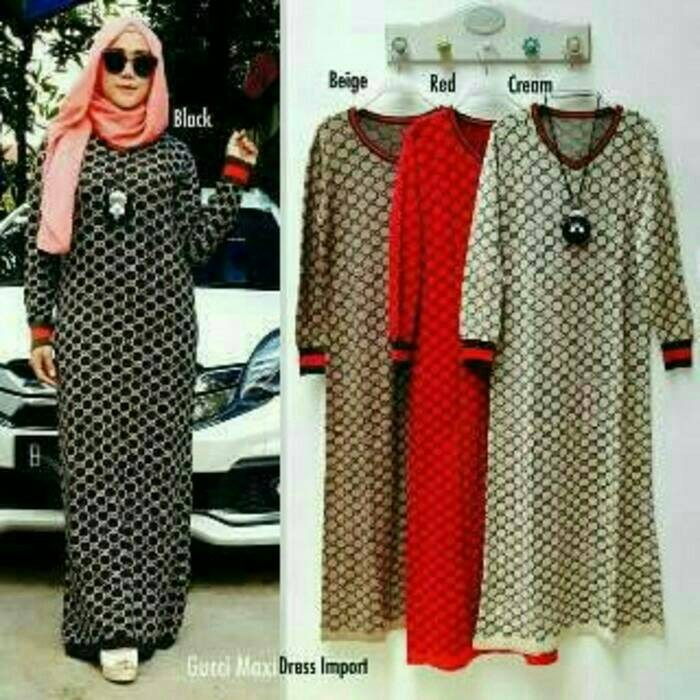 Fashion Baju Gamis Muslim Long Dress Gucci Tunik Branded Import